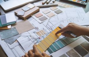 interior design, choosing colors and tiles from swatches