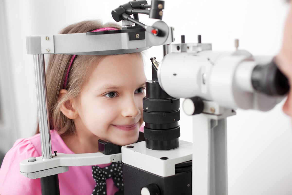 Girl getting her eyes checked