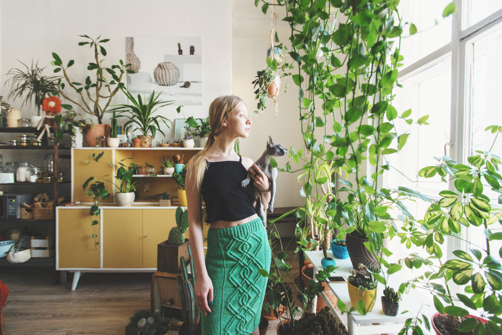 woman looking to a window with indoor plants around her