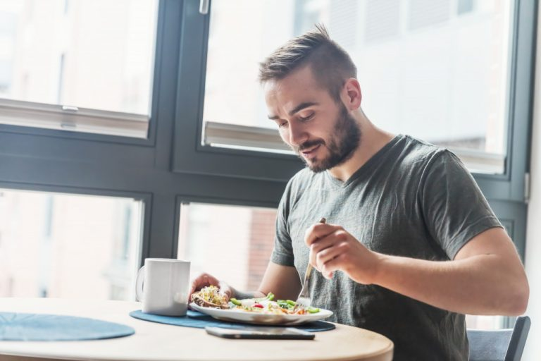 man eating a healthy diet